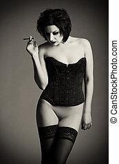 pelado, shot:, Retrato, excitado, jovem, mulher, cigarro,...