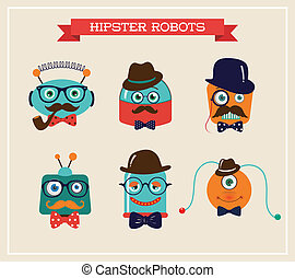 Set of cute retro hipster robots heads