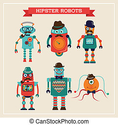Set of cute retro vintage hipster robots - Set of cute retro...