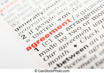 Agreement Word Definition In Dictionary Close Up