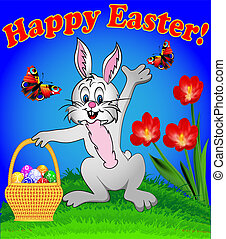 illustration of a rabbit with Easter eggs in the basket cartoon with flowers and butterflies