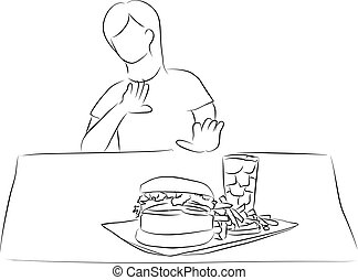 diet - woman refuse food that in front of her