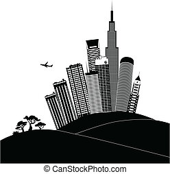 Urban landscape in black and white - Black silhouette of a...
