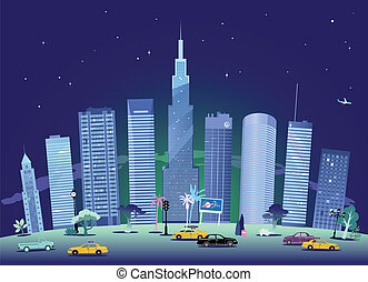 Cityscape at night - Modern city at night vector background...