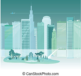 City and a park across the river - Beautiful vector...