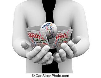 3d businessman holding web design wordcloud