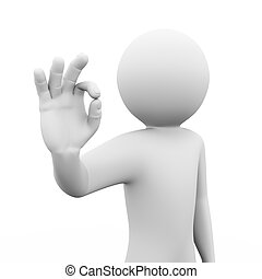 3d person showing ok sign illustration - 3d rendering of man...