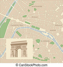 Map of the city of Paris and Triumphal arch