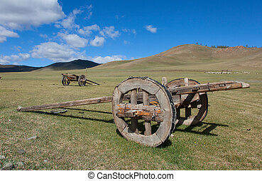 Horse cart outdated design. Mongolia