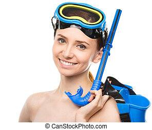 Young happy woman with snorkel equipment