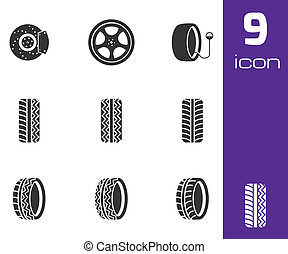 Vector black tire icons set on white background