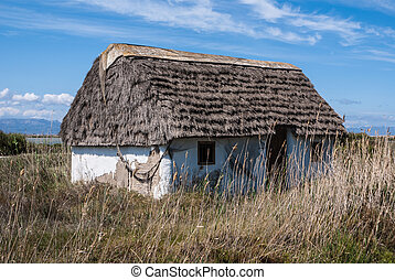 Rustic old traditional house in Ebro Delta, Spain