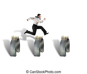 businessman jumping over euro symbols isolated in white...