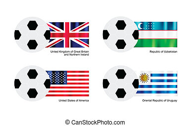 Soccer Ball United Kingdom, Uzbekistan, United States and Uruguay Flag