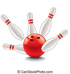 Bowling ball and pins vector illustration - Bowling ball and...