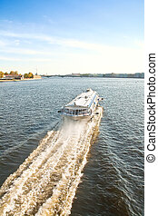 Hydrofoil - Very rapid cutter on the waterway of the river...