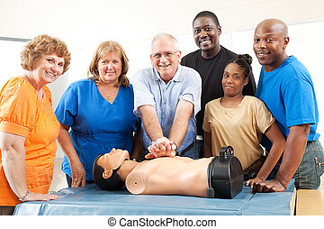 Class on CPR and First Aid - Adult education class on CPR...