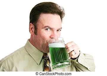 Drinking Green Beer on St Patricks Day - Handsome...