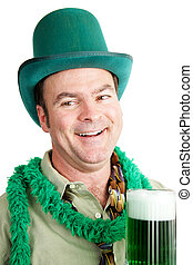 St Patricks Day - Drunk on Green Beer - Irish American man...