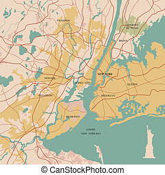 Map of the city of New York and Statue of Liberty