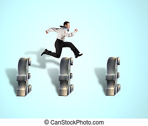 Businessman jumping over pound symbol - Businessman jumping...