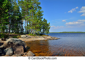 Lake Engozero. North Karelia, Russia - Rocky island on the...