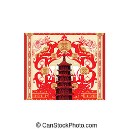 decorative card with abstraction Asian building