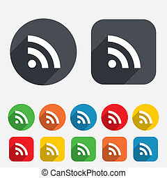 RSS sign icon RSS feed symbol Circles and rounded squares 12...