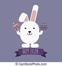 happy easter over  purple background vector illustration