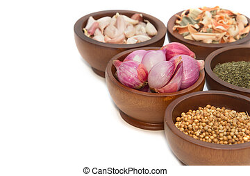 Thai herbs and spices ( garlic, shallot, coriander dried lemon grass and pepper)