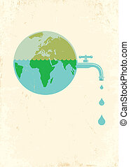 Earth with water tap - Illustration of Earth with water tap