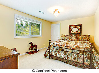 Bright bedroom with antique bed - Ivory wall cozy bedroom...