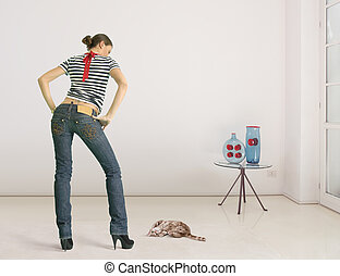 woman and cat - Young woman and cat in the room