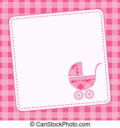 Baby girl announcement card. Vector illustration.
