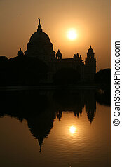 Victoria Memorial Silhouette, Calcutta, India - Victoria...