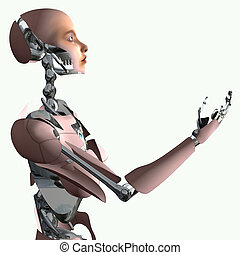 Cyborg making offer - Android Isolation, 3d render of cyborg...