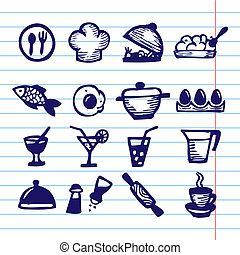 big food icon set - Hand Drawn Vector Illustration Set of...