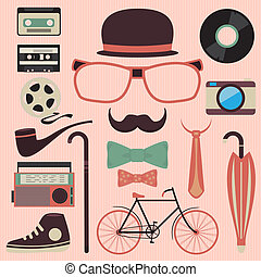 Hipster design with hipster elements and icons.Vector...