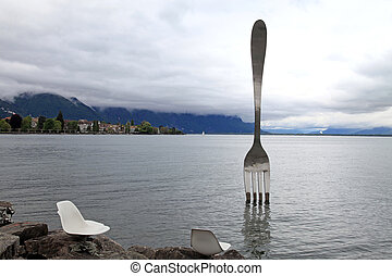 Giant steel fork , Vevey, Switzerland - Giant steel fork in...