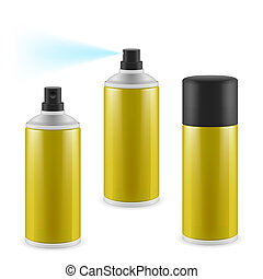 Golden spray cans - Two opened and one closed golden spray...