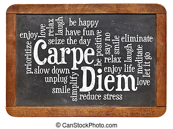 Carpe DIem word cloud on a vintage slate blackboard isolated...