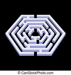Labyrinth - White 3d labyrinth in hexagon shape on black...