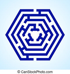 Labyrinth - Illustration of blue labyrinth in hexagon shape...