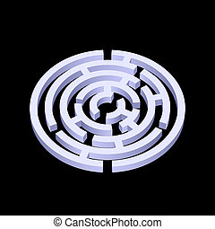 Labyrinth - White round 3d labyrinth on black background