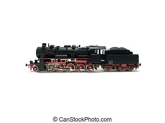 Steam Engine - A model of a steam engine on white background
