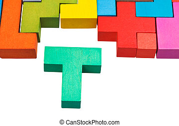 T-shaped block and wooden puzzle