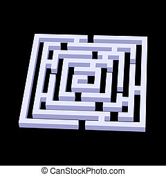 Labyrinth - White square 3d labyrinth on black background