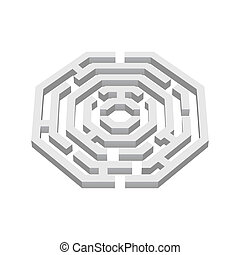 Labyrinth - White 3d labyrinth in octangle shape on white...