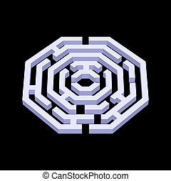 Labyrinth - Illustration of white 3d labyrinth in octangle...
