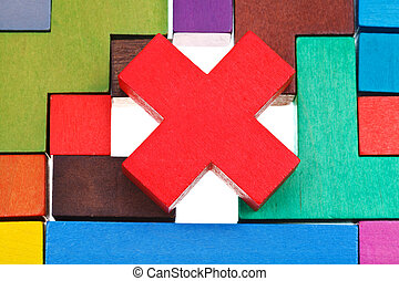 cross shaped block on wooden puzzle - cross shaped block on...